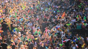 Thai New Year And Water Festival Famous Local Traditional. Tourist happiness and fun  with  songkran day  thai new year  or water festivals in Bangkok Thailand Stock Image