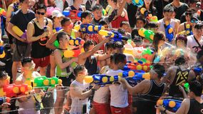Happiness  And Funny On  Thai New Year  Or Water  festivals. Tourist happy funny with splash water on songkran day or thai new year  celebrated  local Royalty Free Stock Photos