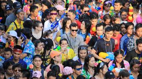 Attendees Water Fight  Or Songkran  Festival. Tourist happy with splash water on songkran day or thai new year  celebrated  local traditional festival in Stock Image