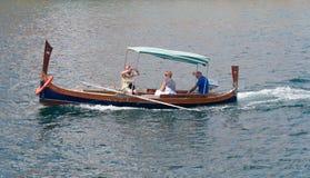 Tourist on a harbor trip. Tourists on a harbor tour in Valetta in Malta Stock Photos