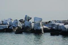 Tourist harbor, winter Stock Photo