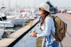 Tourist at harbour Royalty Free Stock Images