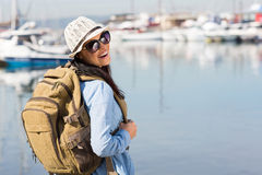 Tourist at harbour Royalty Free Stock Image