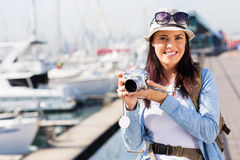 Tourist at harbour Royalty Free Stock Photo