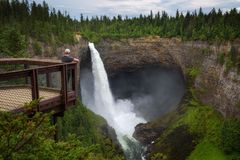 Tourist at Helmcken Falls in Wells Gray Provincial Park in Canada Royalty Free Stock Photography
