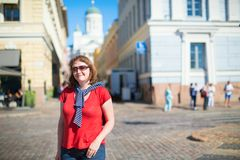 Tourist in Helsinki, Finland Stock Image