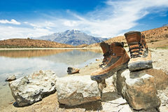 Tourist hiker boots shoes in mountains Royalty Free Stock Photos