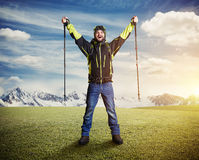 Tourist with hiker poles Royalty Free Stock Photos