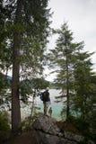 Tourist hiking on alpine lake with dog royalty free stock photos