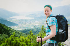Tourist Hiking in the Italian Alps Stock Photos