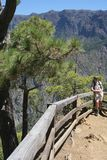 Tourist is hiking in La Caldera National Park at the island La Palma, Spain Stock Photo