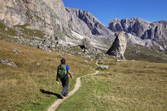 A tourist hiking in Val di Gardena in the Dolomites Royalty Free Stock Photo