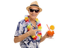 Tourist holding a cocktail Royalty Free Stock Photos