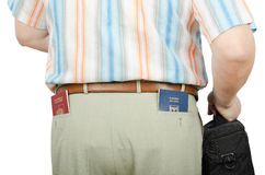 Tourist holding Israeli and Russian passports in rear pockets. Tourist in summer pants holding Israeli and Russian passports in his rear pockets Royalty Free Stock Images