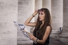 Tourist holding a map Royalty Free Stock Images