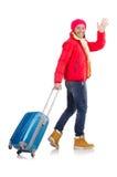 Tourist holding suitcase isolated on white Stock Image