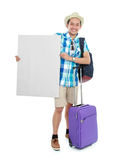 Tourist holding white board Stock Images