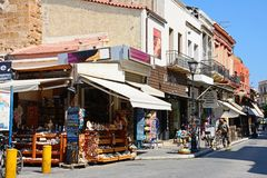 Tourist hopping street, Chania. Stock Image