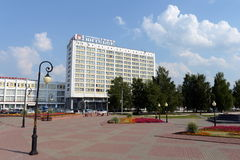 Tourist and hotel complex `Vitebsk Hotel` in the center of Vitebsk. Stock Image