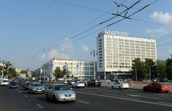 Tourist and hotel complex `Vitebsk Hotel` and a central department store in Vitebsk. Royalty Free Stock Images