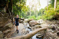Tourist on Huai Sakae waterfall. Male tourist in Huai Sakae waterfall in Khao Phanom Bencha Krabi southern Thailand. Landscape in real rainforest taken in Stock Photography