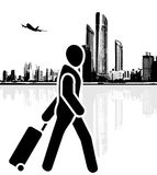 Tourist hurries to the airport. Icon Royalty Free Stock Photo
