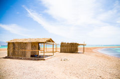 Tourist huts. Tourist shanty on the beach of Red Sea Stock Images