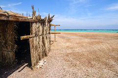 Tourist huts. Tourist shanty on the beach of Red Sea Stock Photos