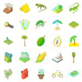 Tourist icons set, cartoon style Royalty Free Stock Photos