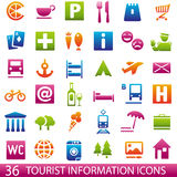 Tourist Icons. Set of 36 icons for tourist map. Tourist information icons Royalty Free Stock Image