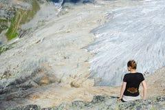 Tourist at Illecillewaet Glacier Stock Images