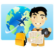 Tourist illustration. An illustration of a tourist traveling with a camera Stock Photos