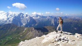Tourist im Berg. Stockfotos