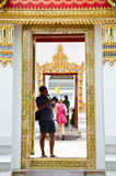 Tourist image of Thai art through the camera. Stock Photo