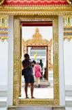 Tourist image of Thai art through the camera. Stock Photo