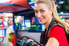 Tourist in Indonesia at street food market Royalty Free Stock Photo