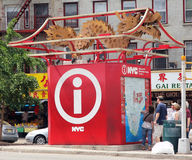 Tourist Information booth. With a dragon on the top,located in china town,nyc Royalty Free Stock Photo