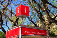 Tourist information booth. Red official tourist information booth in Barcelona, Spain Stock Images