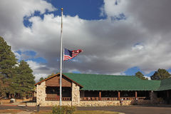 Tourist Information Center near the Grand Canyon. U.S. State Flag is fluttering in the wind Stock Images
