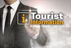 Tourist information is shown by businessman concept.  Royalty Free Stock Image