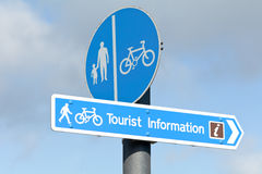Tourist Information sign besides footpath and cycle lane Royalty Free Stock Image