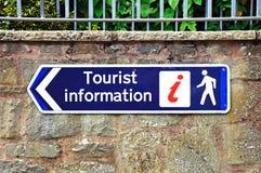 Tourist information sign, Leominster. Blue tourist information on a stone wall, Leominster, Herefordshire, England, UK, Western Europe Royalty Free Stock Photos