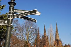 Tourist information sign, Lichfield. Stock Photography