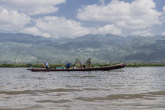 Tourist at Inle lake royalty free stock images