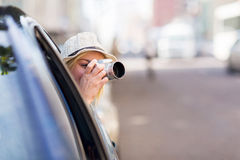 Tourist inside car Stock Photos