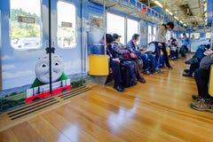 Tourist inside Fujikyu line or Thomas train at Otsuki Station Near kawaguchiko station ; Yamanashi, Japan 9 April 2018 stock photo