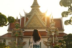 Tourist inside Wat Arun in Bangkok. royalty free stock photography
