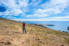 Tourist on Island of the Sun, Titicaca Lake, Bolivia Royalty Free Stock Photography