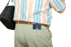 Tourist with Israeli passport in rear pocket Royalty Free Stock Image