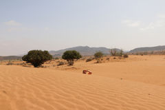 Tourist ist in der Wüste lizenzfreie stockfotos